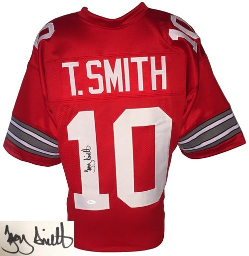 TROY SMITH SIGNED CUSTOM RED COLLEGE FOOTBALL JERSEY JSA