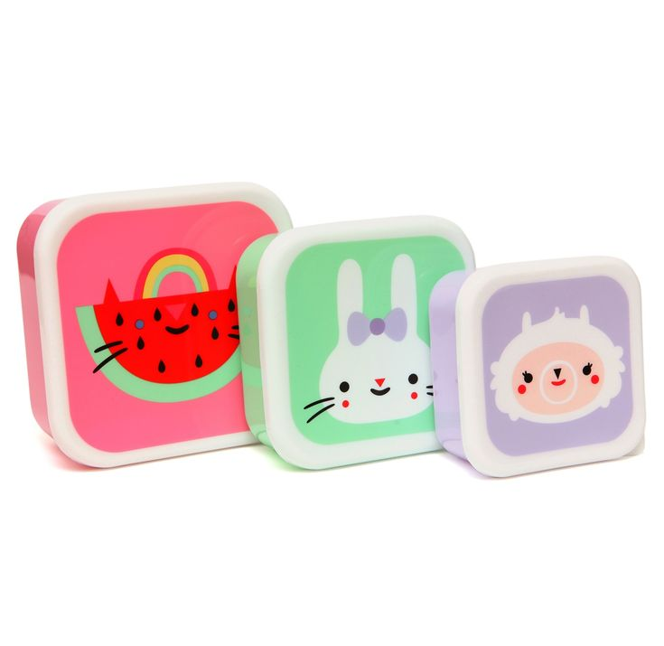 The biggest lunchbox deep pink 12 x 12 x 5.5 cm The middle size mint green  10.5 x 10.5 x 5.0 cm The smallest soft lilac snack box 9 x 9 x 4.8 cm.  Dishwasher safe top rack only on a cool setting (40°C) Food safe BPA free