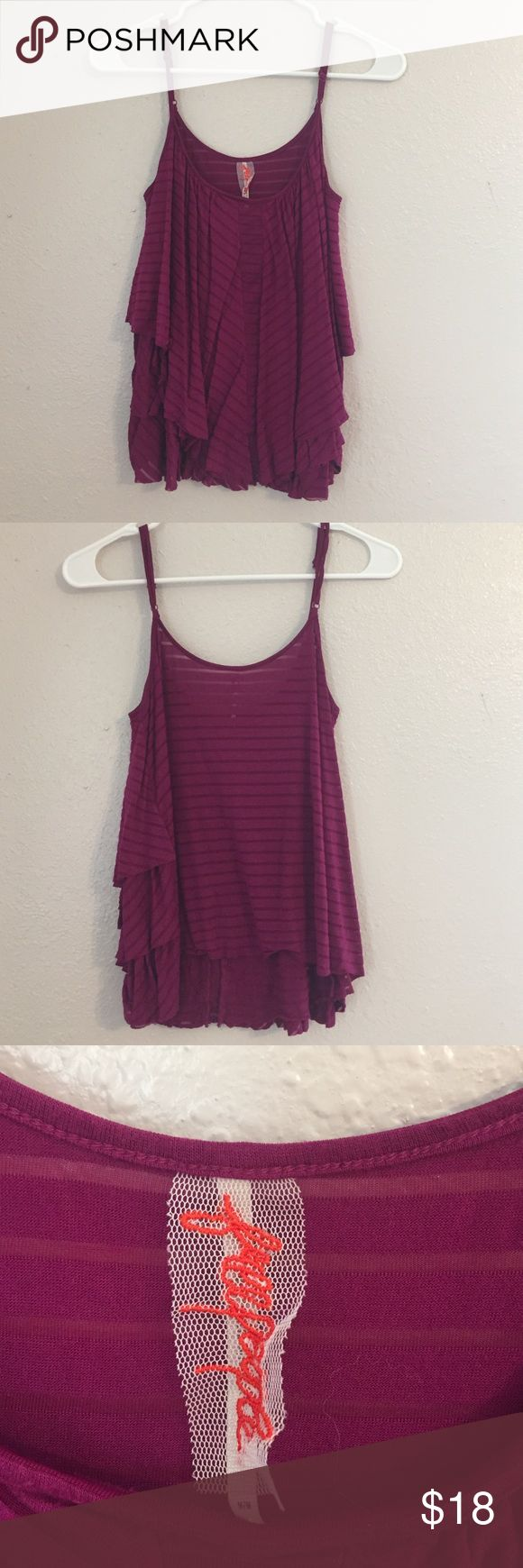 Free People Flowy Purple Cami Excellent used condition. Adjustable straps. Ruffle details. Fits TTS Free People Tops Tank Tops