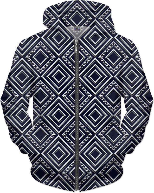 Diamonds and Dots in Chrome on Blue Hoodie by Terrella and other items featuring this design are available at https://www.rageon.com/products/diamonds-and-dots-in-chrome-on-blue?variant=27837308360&aff=BSDc