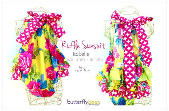 Custom order  Ruffle Sunsuit by Butterflybees on Etsy