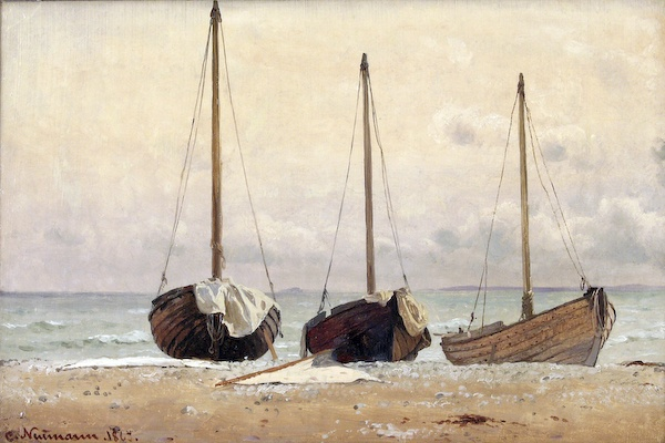 Carl Neumann (1833-1891): Optrukne fiskerbåde på Hornbæk Strand, 1863