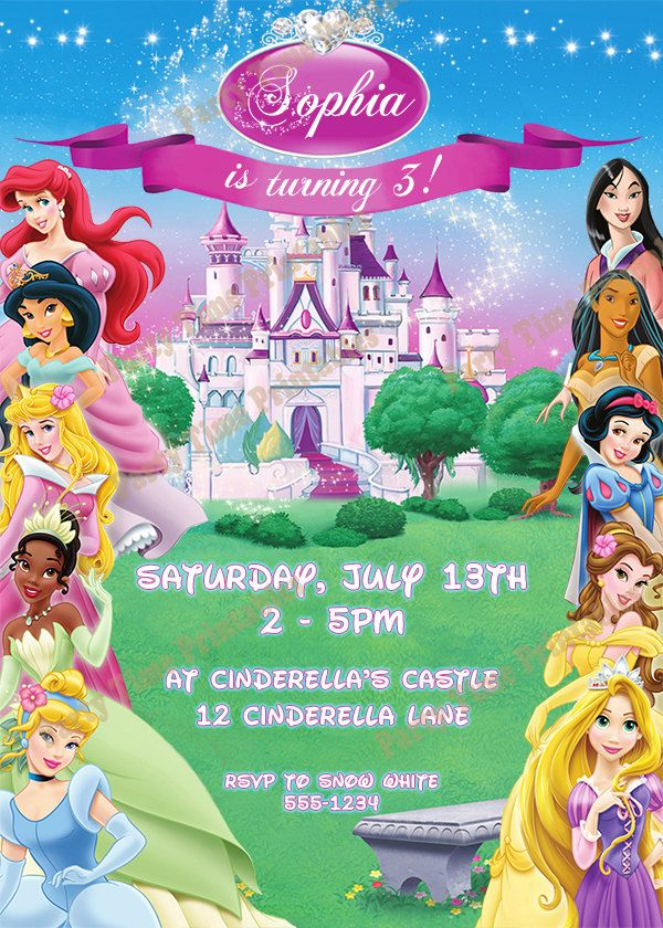 The 25 best Princess birthday invitations ideas – Disney Princess Printable Birthday Cards