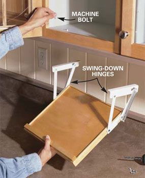 Keep your cookbook on a shelf that swings down from below cabinet to save countertop space.