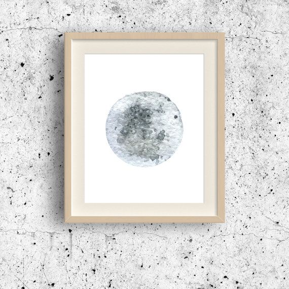 Minimalist Painting Moon watercolor art Full Moon by MyGalleryWall