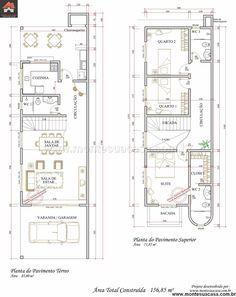 planos de casas pequenas de 4×20