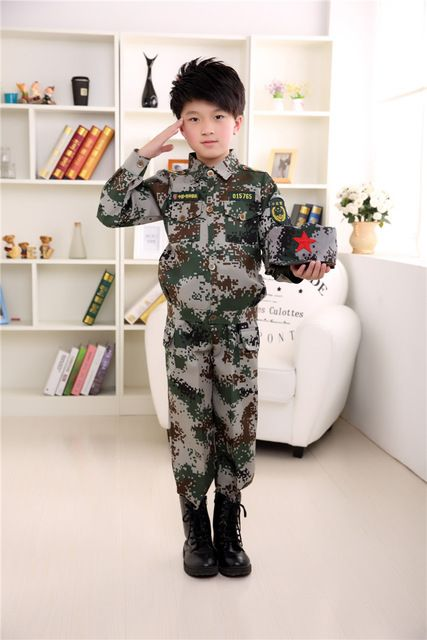 2017 Spring Fall Kids Sport Camouflage Clothing Sets Children's Performance Clothing Uniforms Boy & Girls Military Uniform A131
