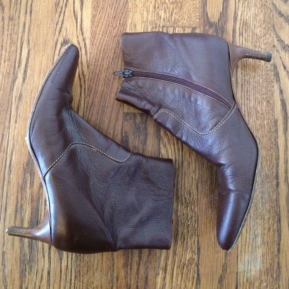 """J.Crew ankle Chelsea boots heels genuine leather Excellent condition - heel tip on right needs replacement, but very easy and cheap fix. 5.25"""" high from back and 2.25"""" heel. Super luxurious Made in Italy-  genuine leather!!! These are a beautiful rich brown-red-wine color.  CHECK OUT MY OTHER EXCELLENT J.CREW BOOTS!!!! J. Crew Shoes Ankle Boots & Booties"""
