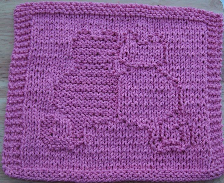 Free Knitted Dishcloth Patterns | Snuggling Cats Knit Dishcloth Pattern