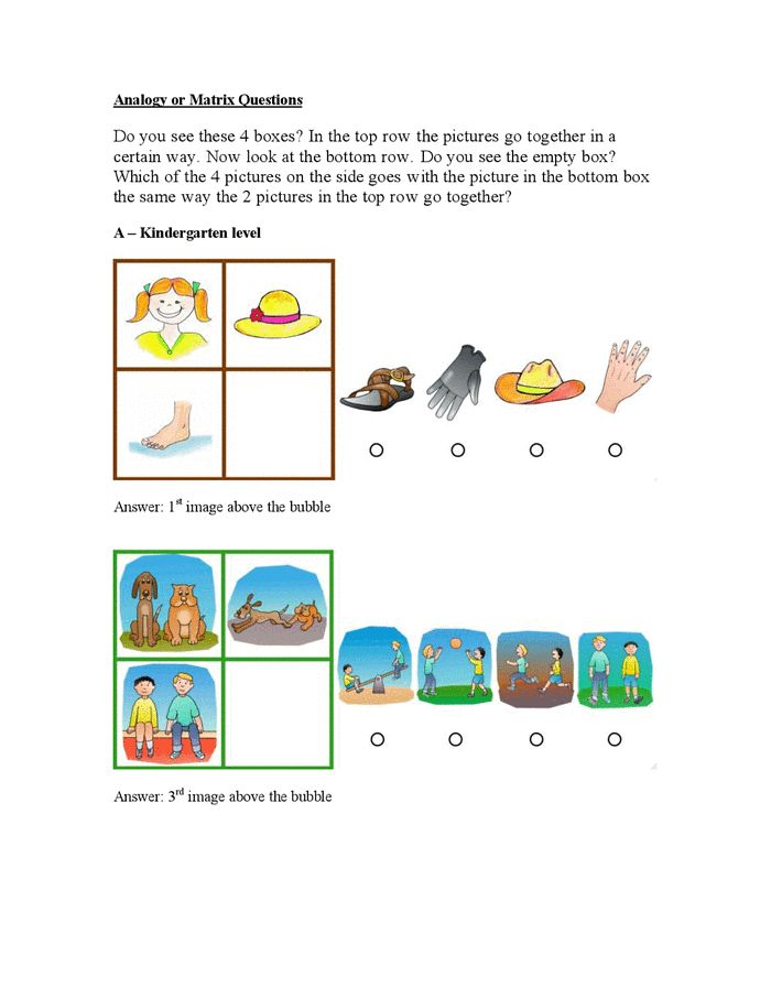 Gifted test sample questions: Kindergarten through 3rd grade ...
