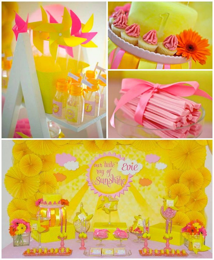 Little Ray of Sunshine 1st birthday party with Lots of Really Cute Ideas via Kara's Party Ideas! full of decorating ideas, dessert, cake, cu...