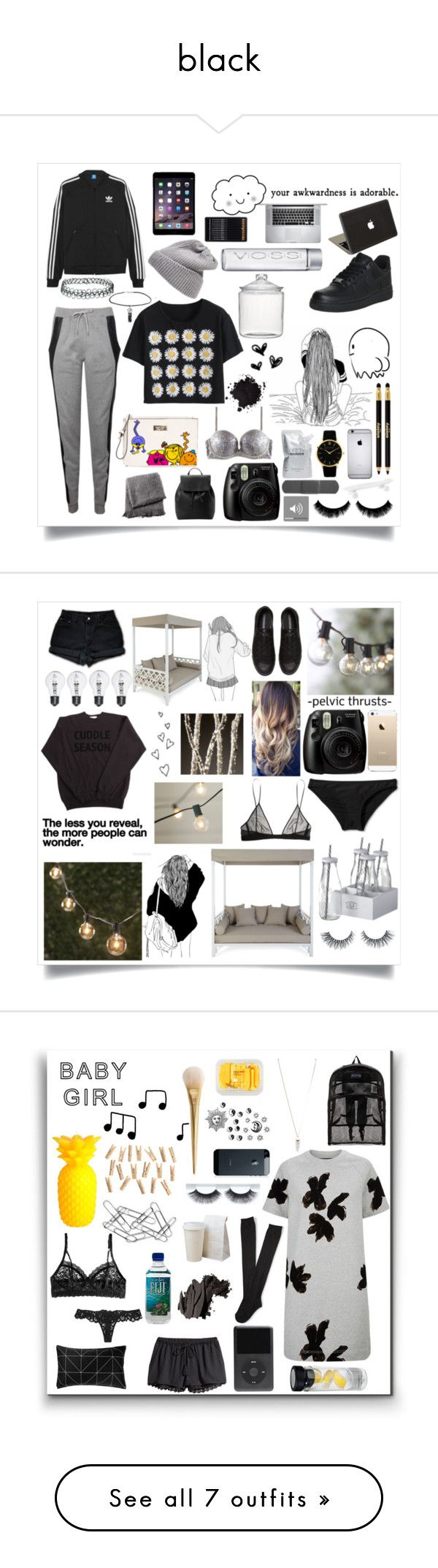 """black"" by estherlillymae ❤ liked on Polyvore featuring Topshop, Lot78, UGG Australia, NIKE, H&M, adidas Originals, Crate and Barrel, MANGO, From the Road and Prtty Peaushun"