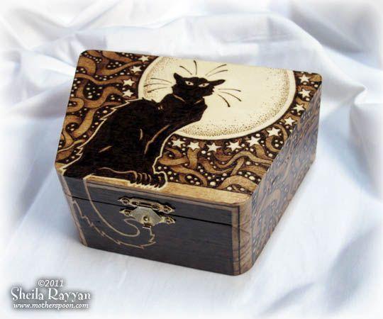cat  pyrography | Chat Noir Box | Sheila Rayyan | Mother Spoon Studio | Pyrography