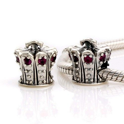 Red Crystal Crown Birthstone Charm 925 Silver Pandora Compatible - Soufeel