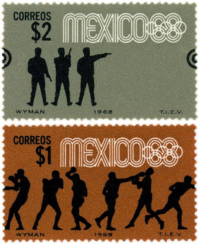 Estampillas Conmemorativas para el tiro con pistola y boxeo para México 68. $2.00 pesos Pistol Shooting and Boxing Postage Stamp for the Olympic Games of Mexico 68.