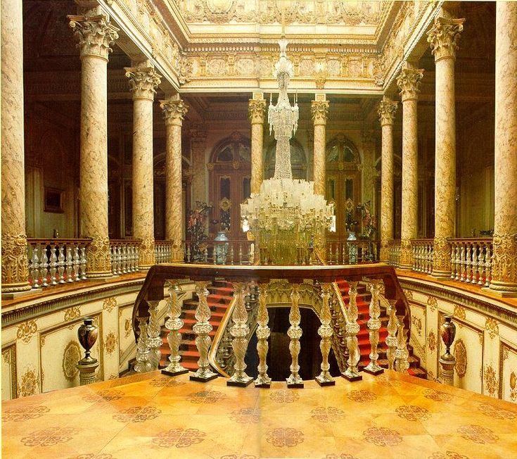 rococo style interior decorating | Dolmabahce Crystal Staircase
