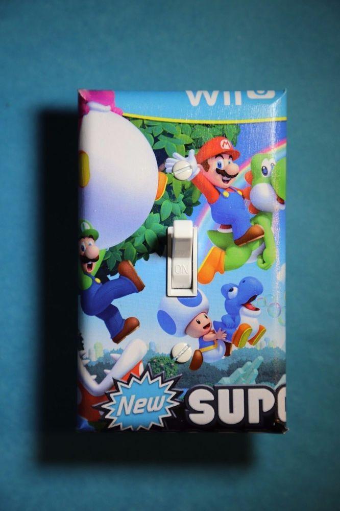 Super Mario Luigi Video Game Light Switch gamer room decor nintendo wii u