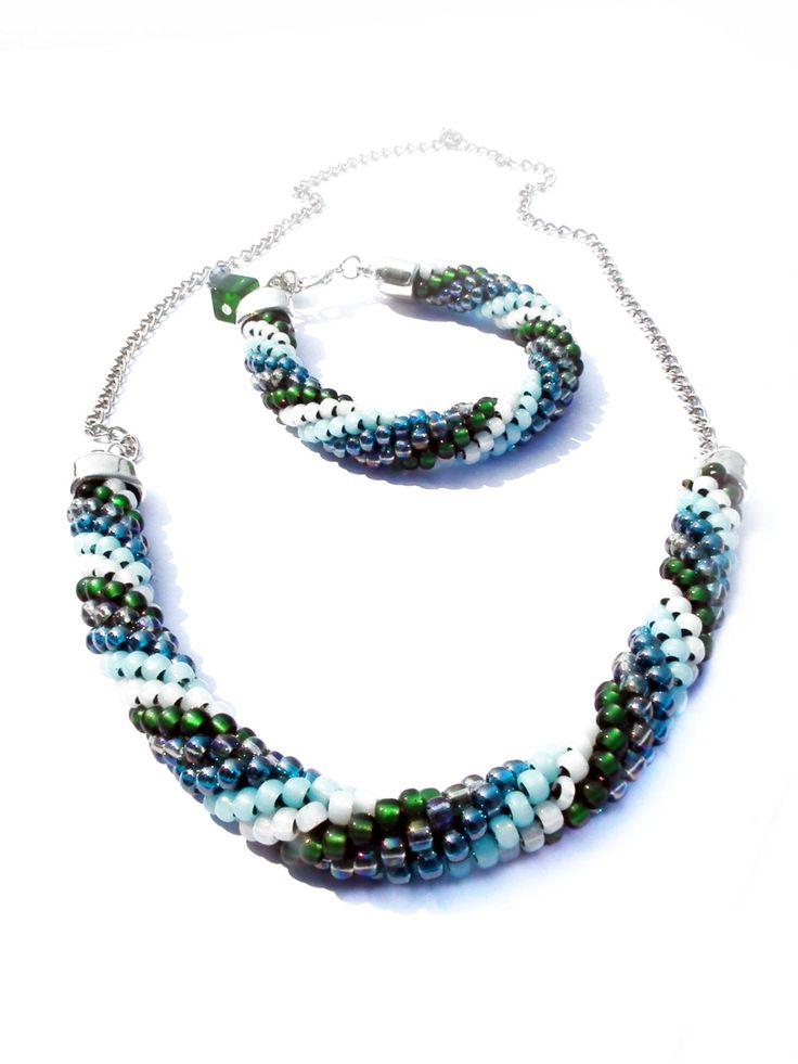Set bracelet and necklace Jewelry sets Beaded crochet rope Beading necklace Multicolored set jewelry Gift ideas Set jewelry beads. by MadeByJoLis on Etsy