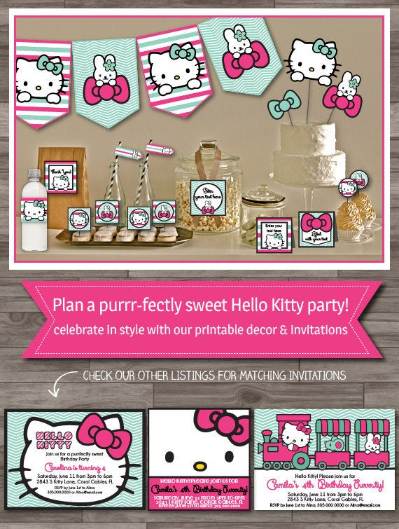 Items similar to Hello Kitty Inspired Party - Pink Bows ---Boutique Party Collections on Etsy, a global handmade and vintage marketplace.