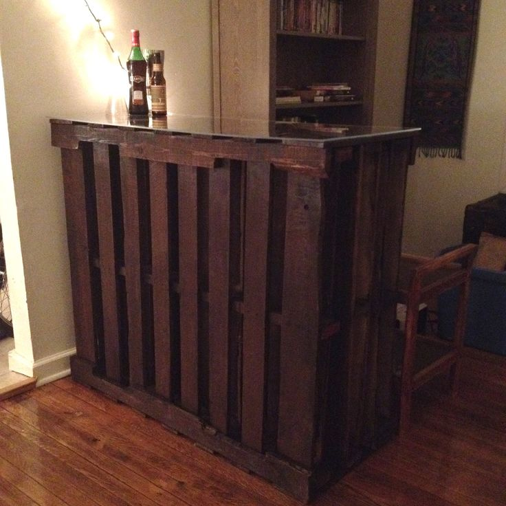 Pallet Bar... I think I'd like it better outside on the deck though