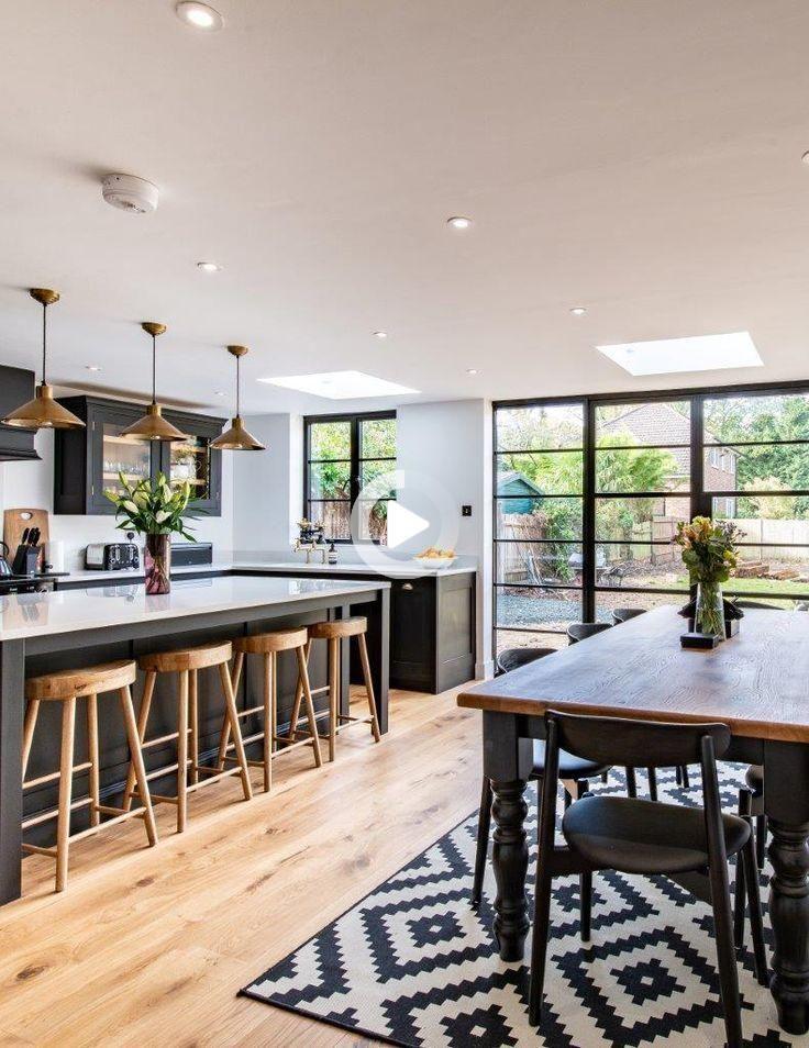 Tessu Glaze Gray King Bed In 2021 Open Plan Kitchen Living Room Open Plan Kitchen Dining Living Open Plan Kitchen Diner