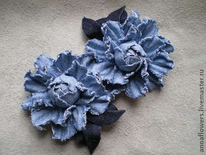 Картинки по запросу цветок из джинсовой ткани
