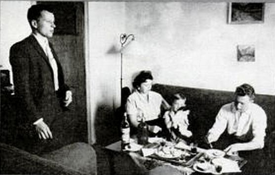 Adolf Eichmann's family after being taken away by Israeli soldiers and taken to trial. Pictured is his 3 boys and wife.