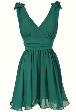 Rosette Shoulder Dress in Hunter Green  www.lilyboutique.com