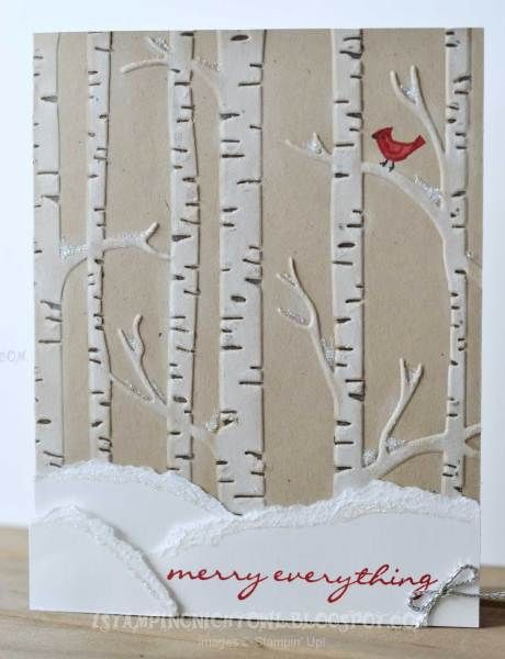 used an Early Espresso marker to ink the dark areas on the embossing folder and ran it through the Bigshot. Then I took a sponge dauber to ink the raised tree trunks with Whisper White craft ink. For the snow in the trees I applied glue with the new fine tip glue pen and sprinkled Dazzling Diamonds over it. Bird is from Sprinkles of Life stamp set.