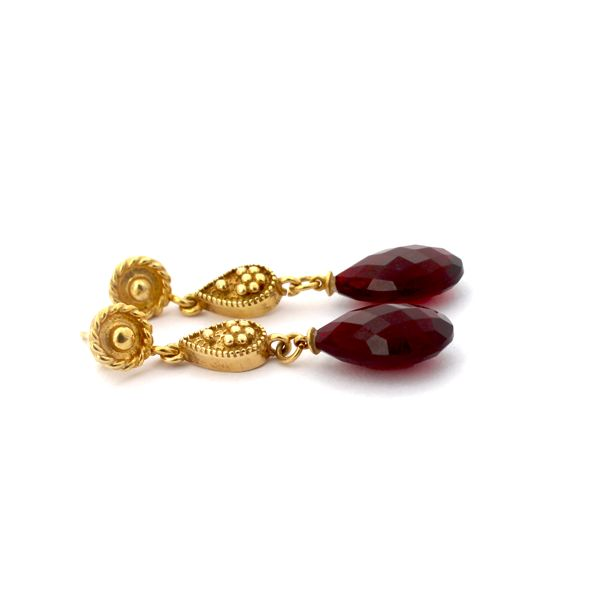 Mereyem Earrings - part of the Ottoman Empire Collection, hand made from Almandine garnets and 14kt yellow gold. www.katemccoy.com