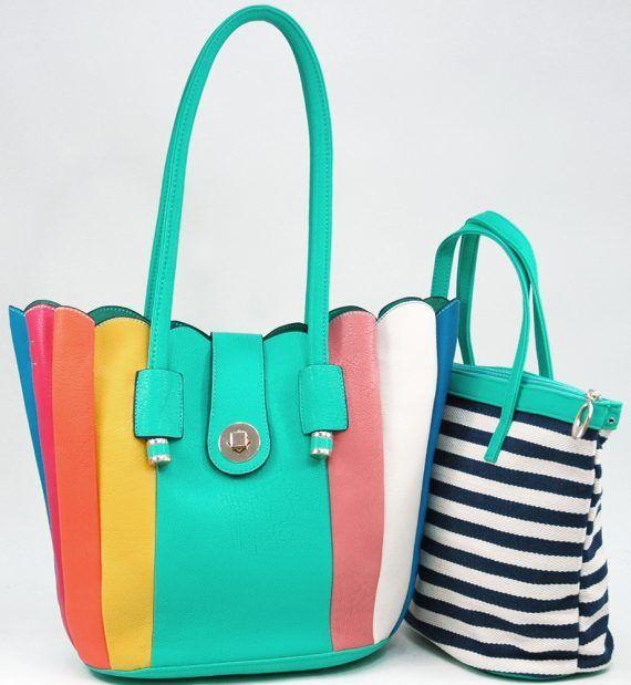 Women's 2-in-1 Multicolor Tote Bag w/ Bonus Canvas Bag – Aqua/Multicolor Color: Aqua/Multicolor – ResellerHub.store