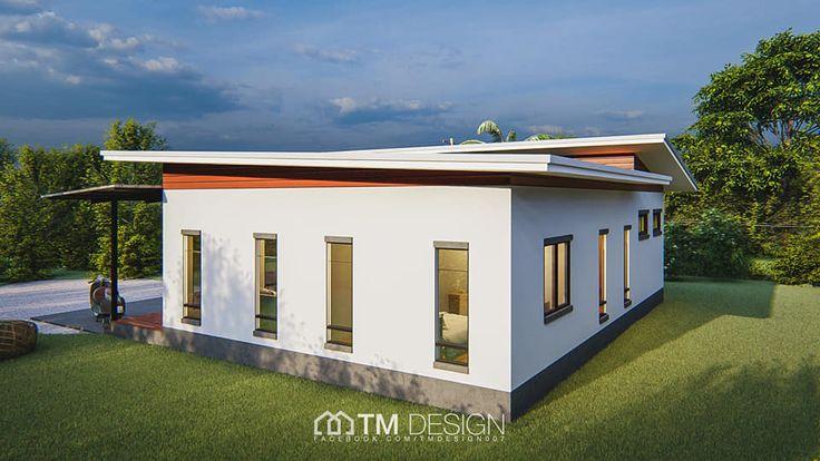 แบบบ านช นเด ยวสไตล โมเด ร นทรงต วแอล 3 ห องนอน พ นท ใช สร อย 136 ตรม Craftsman Bungalow House Plans Brick House Exterior Colors Small Craftsman House Plans