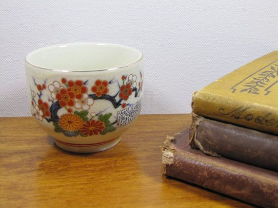 Vintage Oriental Handless Cup Red and Gold by PungoVintage