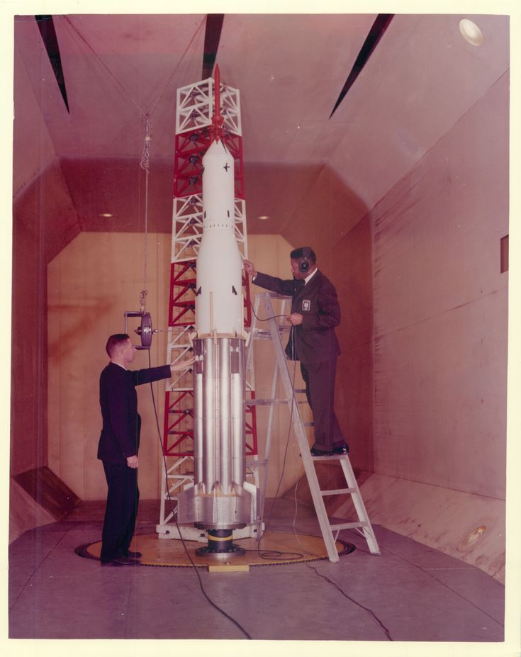 Thomas Byrdsong Aerospace Engineer at NASA Langley Research Center On March 2 1963 Engineer Thomas Byrdsong checks the Apollo/Saturn 1B Ground-wind-loads model in the Transonic Dynamics Tunnel at Langley Research Center in Hampton Virginia.
