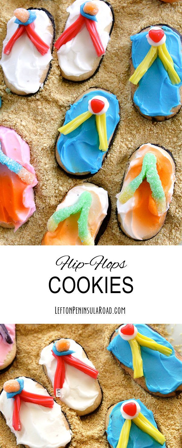 Frosted Flip-Flops Cookie Treats. What a fun food craft idea for a summer party!