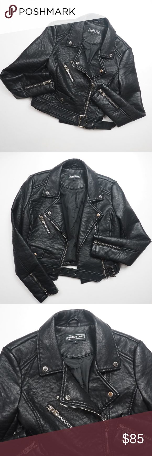 """Members Only Vegan Leather Motorcycle Jacket Small Hello! Up for sale is this Members Only Women's Size Small Vegan Leather Moto Jacket in great pre-loved condition. Please view all photos and measurements to ensure your perfect fit before purchase. Please let me know if you have any questions! :)   Great gently owned condition. Looks like It was only worn maybe a handful of times.   Material   Polyurethane Viscose   Measurements  Shoulder-Shoulder - 17""""  Top-Bottom - 20""""  Underarm-Underarm…"""