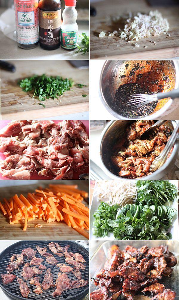 Recipe Ingredients for making Vietnamese Pork Noodle Recipe Bún Thịt Nướng
