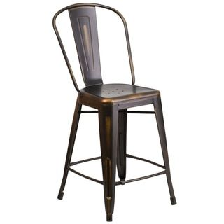 24-inch High Distressed Metal Indoor Counter Height Stool - 18184757 - Overstock.com Shopping - Great Deals on Flash Furniture Bar Stools