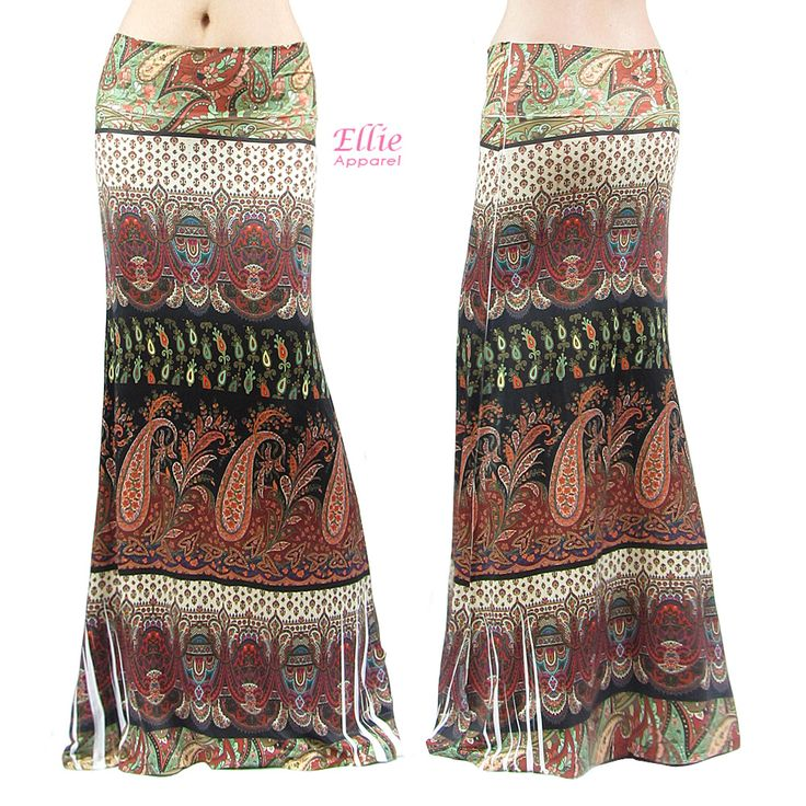 Boho Paisley Floral Sublimation Long Maxi Skirt (S/M/L/Xl/1Xl/2Xl/3Xl)