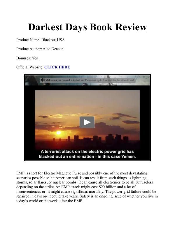 Darkest+Days+Book+PDF+/+Reviews+Free+Download+How+To+Survive+An+EMP+Attack+To+The+Grid