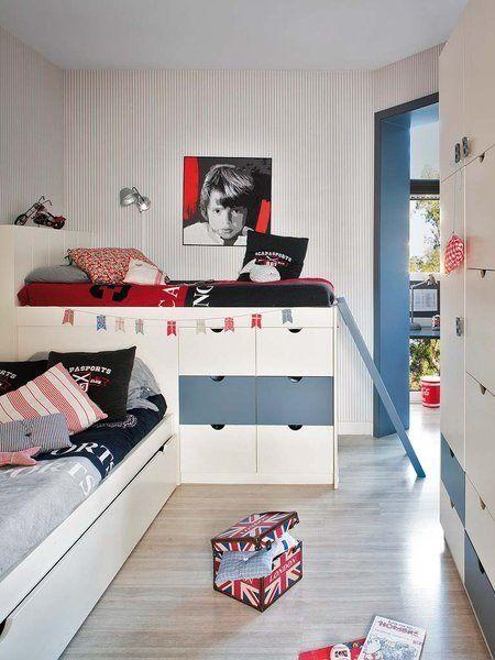 Un dormitorio moderno con plus de espacio camas for Camas infantiles diseno moderno