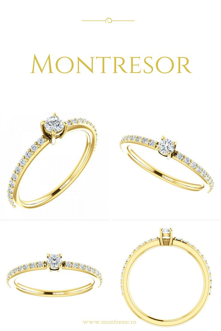 Inel de logodna din aur galben cu diamante