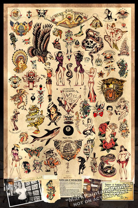 Sailor Jerry Tattoo Flash Poster Print by MarkPaintAndPrints
