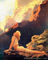 Maxfield Parrish---This was the first MP poster I had.....  ...the depth and 3D feel are wonderful, the light is, perfect.