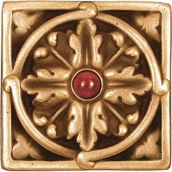 Our classic Acanthus Large Jeweled bronze tile. If you aren't a huge fan of red, we have a long list of other gorgeous jewels for you to customize your order and match your home!