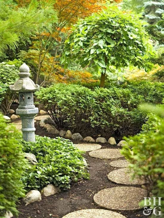 Japanese gardens combine the basic elements of plants ...
