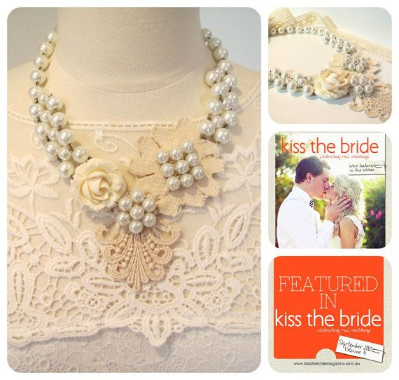 Bridal necklace statement lace necklace cream and by kirstenann, $150.00