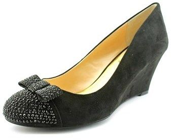 Jessica Simpson Seley Women Open Toe Canvas Black Wedge Heel.