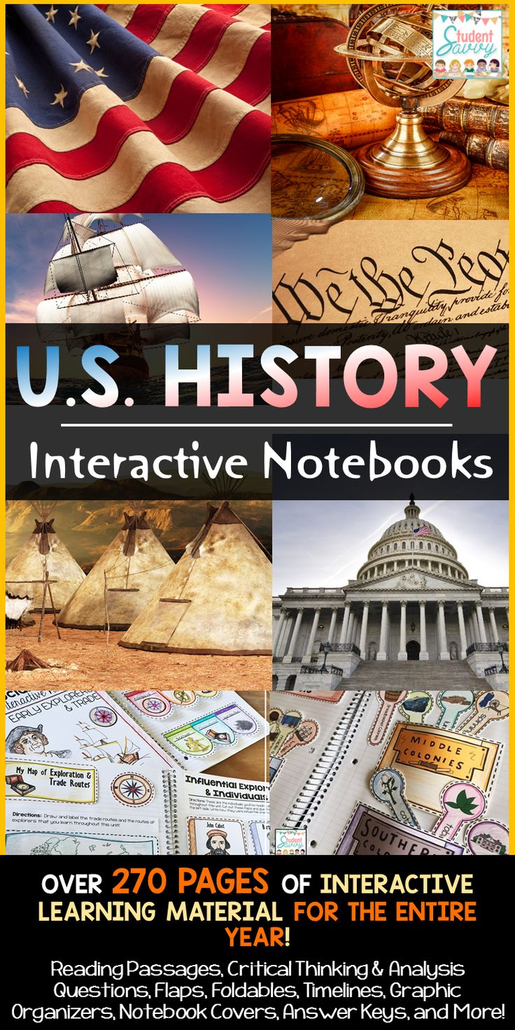 United States History Interactive Notebook Bundle - My students love these resources! Includes timelines, graphic organizers, foldables, flaps, and more
