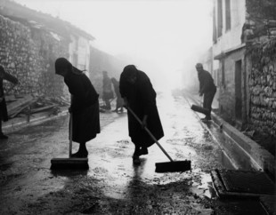 Place : Ioannina  -Εpirus-Greece  old women wash the road